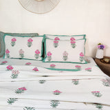 Gulabo Hand-Block Print Quilted Bedcover With Reversible Pillow Covers - Double Bed