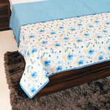 Blue Tropical Floral 100% Cotton Reversible Printed Double Bed Dohar