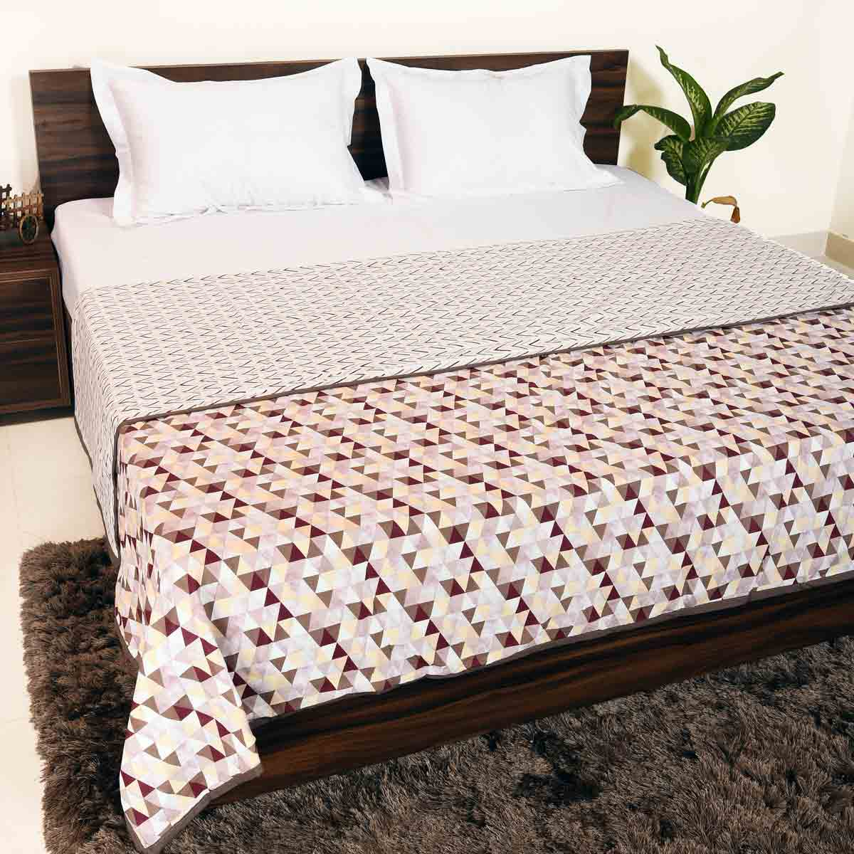 Maroon - Brown Geometrical Print 100% Cotton Reversible Printed Double Bed and Single Bed Dohar