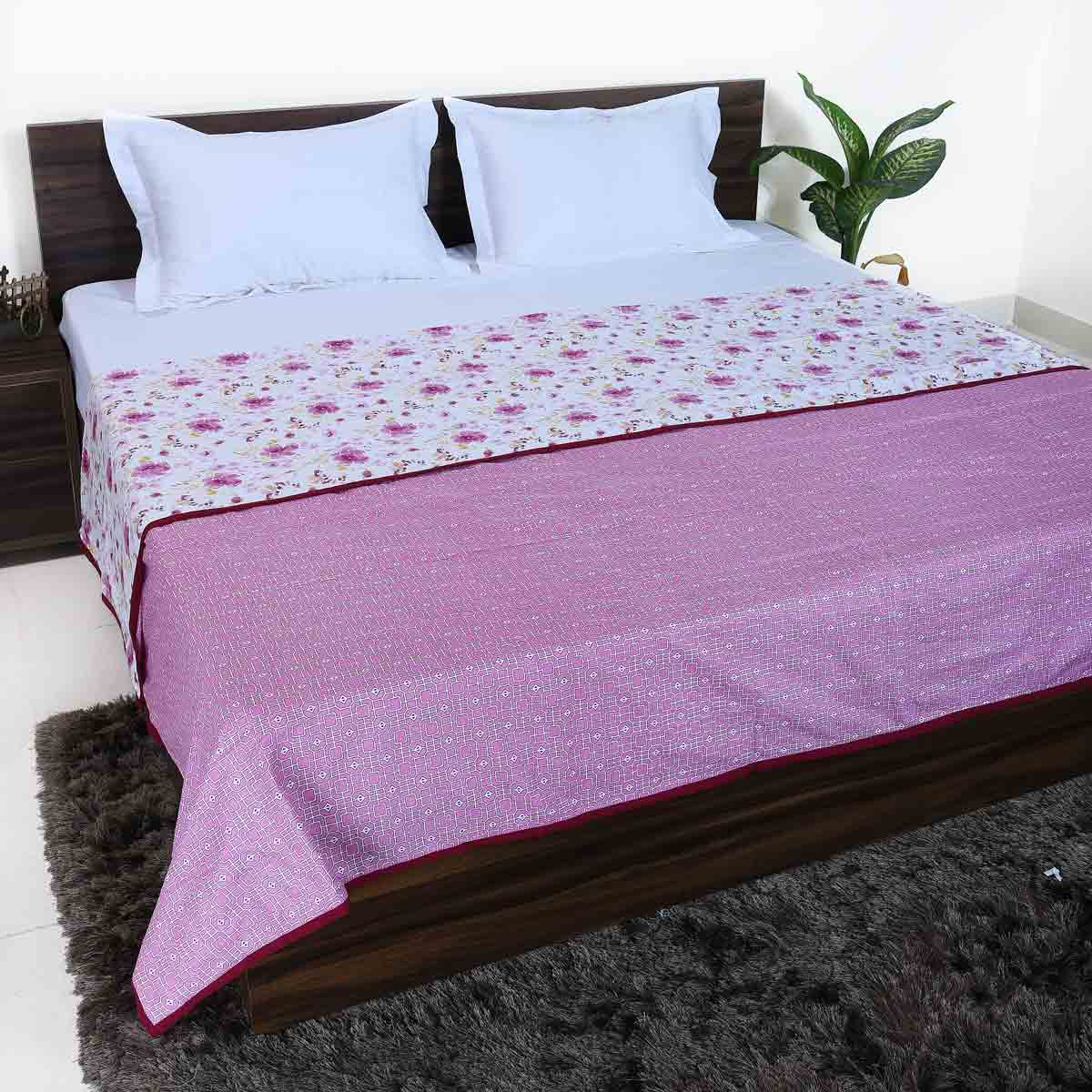 Pink Tropical Floral 100% Cotton Reversible Printed Double Bed Dohar