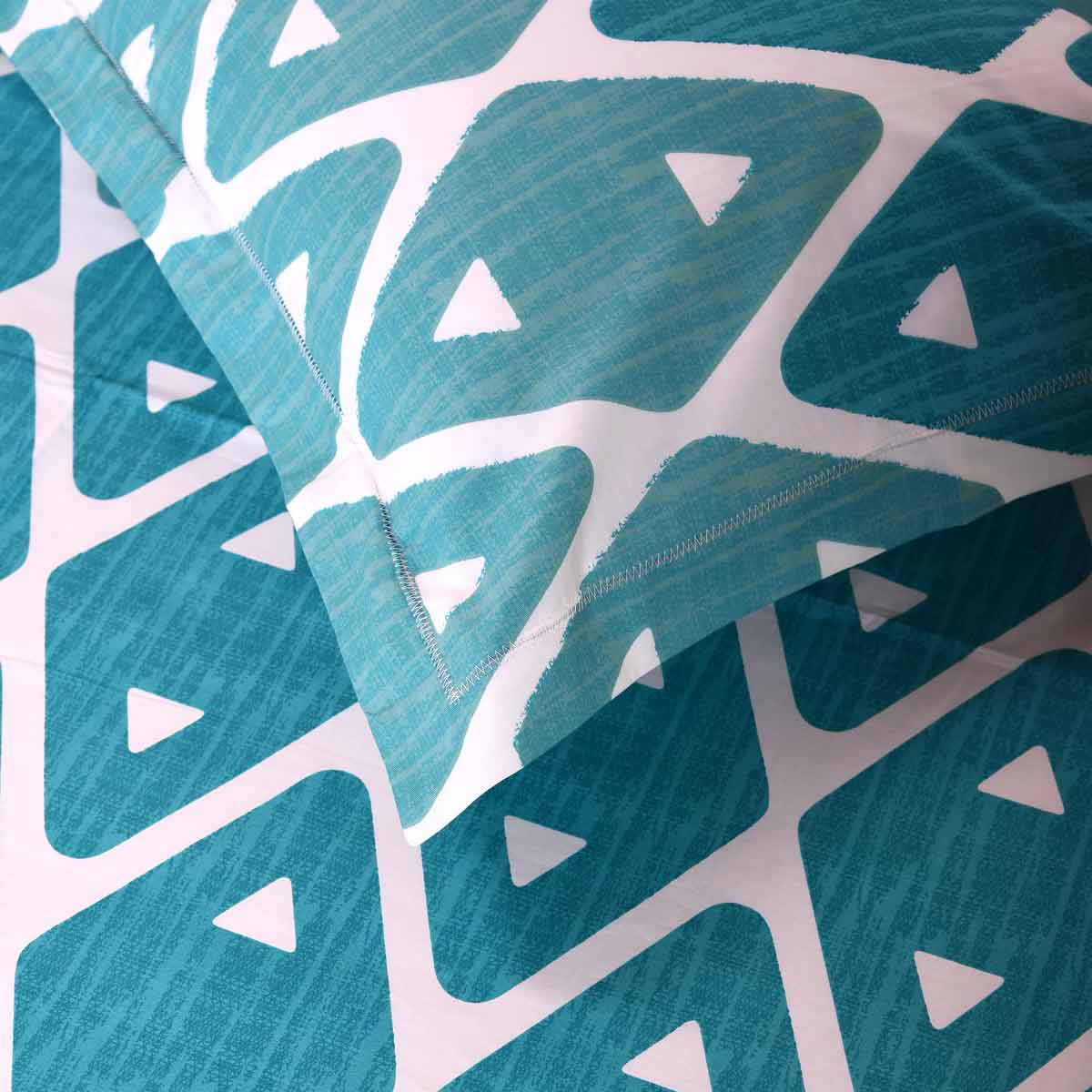 Blue Geometrical cotton bed sheet king size 108x108 inches - white