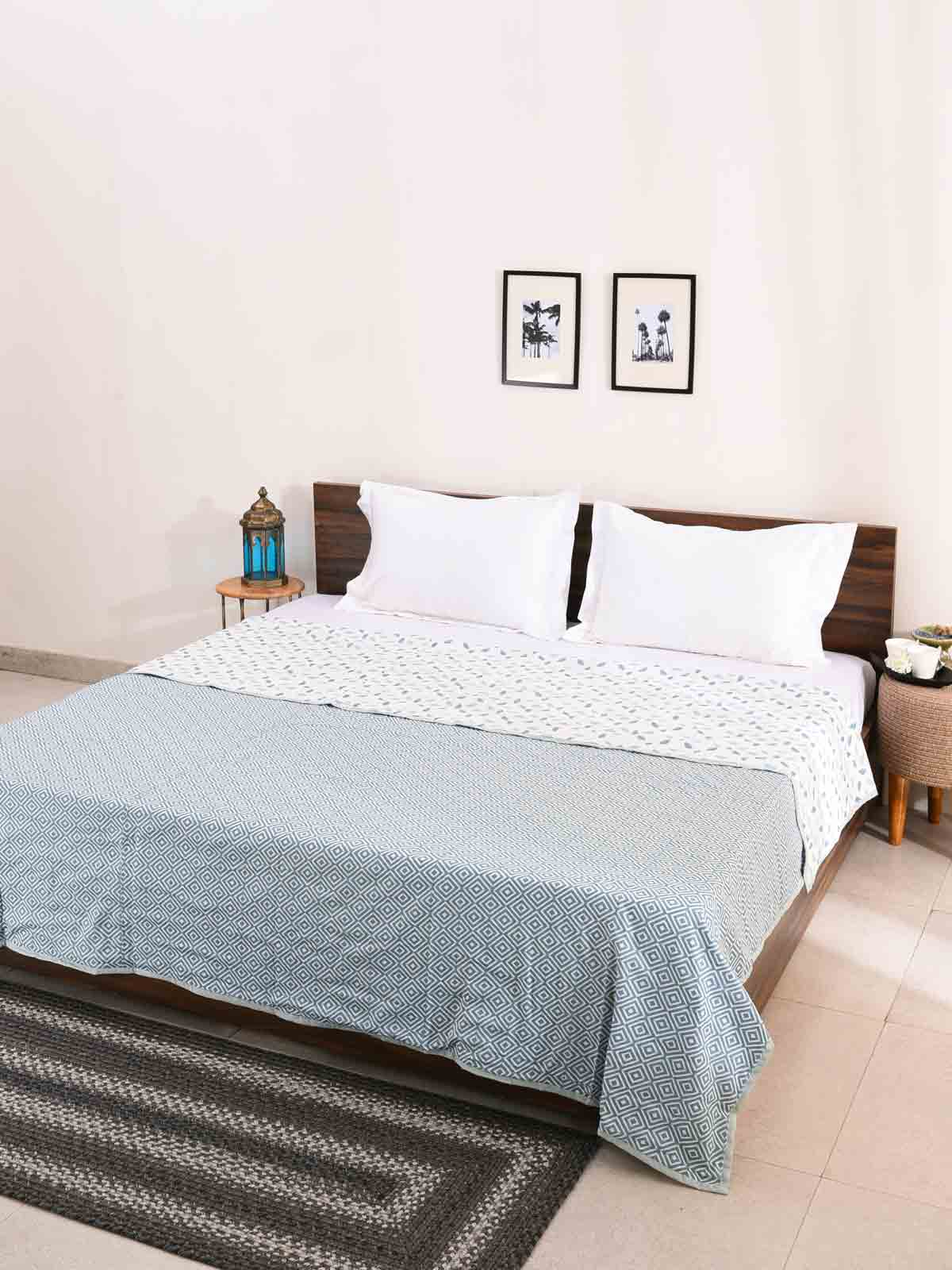 Blue Spring 100% Cotton Reversible Printed Double Bed and Single Bed Dohar