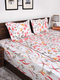 Tropical 100% Cotton Multicolured Double Bedsheet - 3 piece set