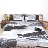 Ombre Black Grey King Size Bedsheet