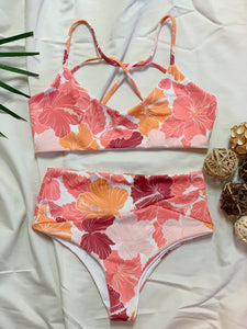 Mānana High Waisted Bottom - Hibiscus Sunset