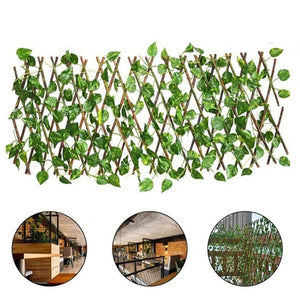 Retractable Artificial Garden Fence Expandable Faux Ivy Privacy Fence Wood Vines Climbing Frame Gardening Plant Home Decorations