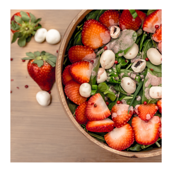Spinach, Strawberry and Cherry Salad in Yogurt
