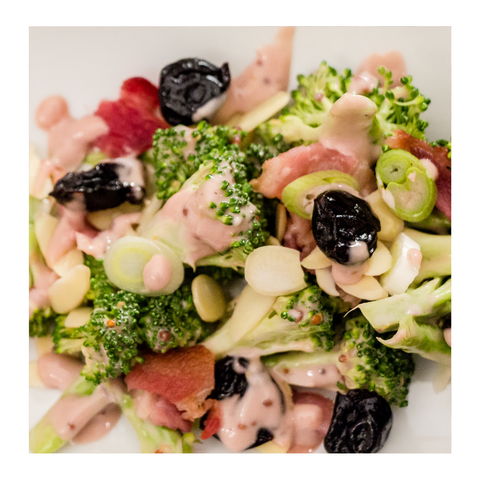 Broccoli salad vinaigrette cherry crunch bacon, dried sour cherries