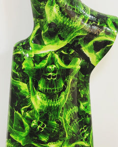HLC-069 stock and forend decorated in hydroimpression flames and skulls