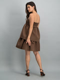 Mini dress with boobtube and tier detail - Chocolate