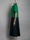 Shirtwaist colourblock midi dress - Green/ navy