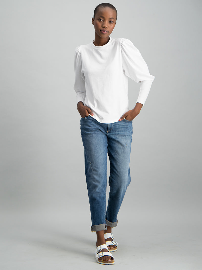L/S Puff Sleeve Crew Neck Top - White