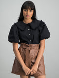 Peter Pan Collar Shirt - Black