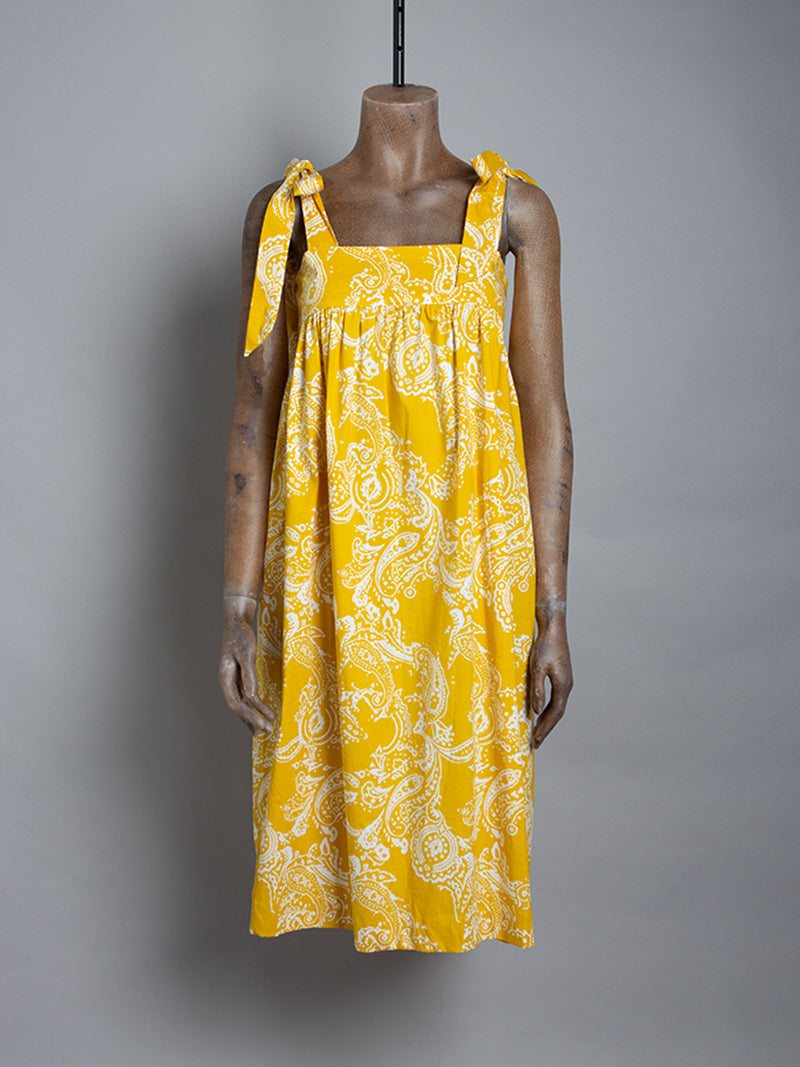 Mini dress with wide strap bow detail - Paisley yellow