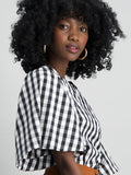 Wide sleeve poplin tee shirt - Blk/ wht Gingham check