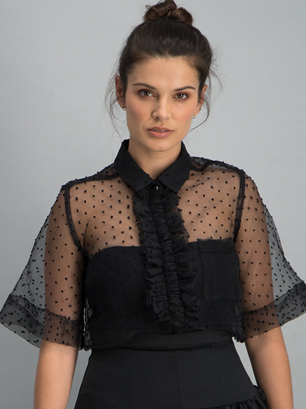 Sheer front ruffle shirt - Black