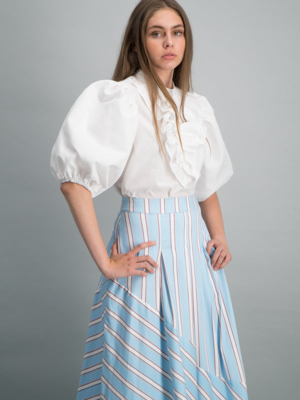 Ruffled nylon blouse - Off white