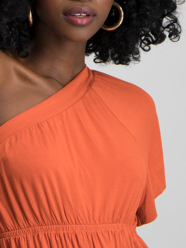 One Shoulder rouched top - Rust