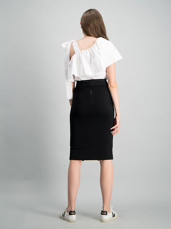 Stretch jersey body-con skirt - Black