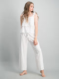 Layered cami & long pant set - White