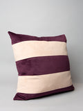 Stripe velvet cushion - Plum/ Pink Powder