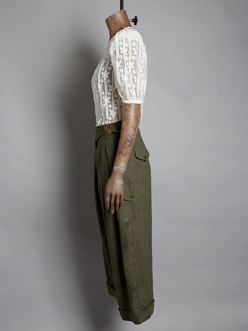 High waisted cropped trousers - Olive