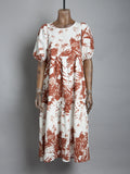 S/sleeve printed tiered midi dress - Tobacco print