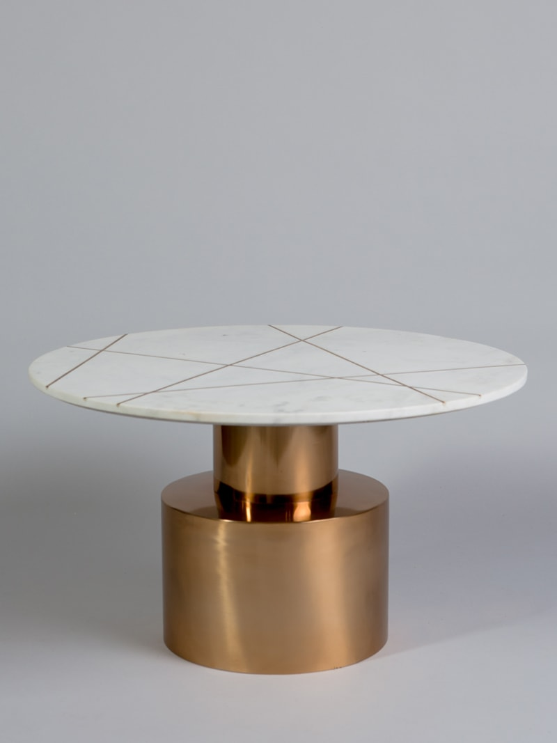 Coffee table brass white inlaid marble - White/ brass
