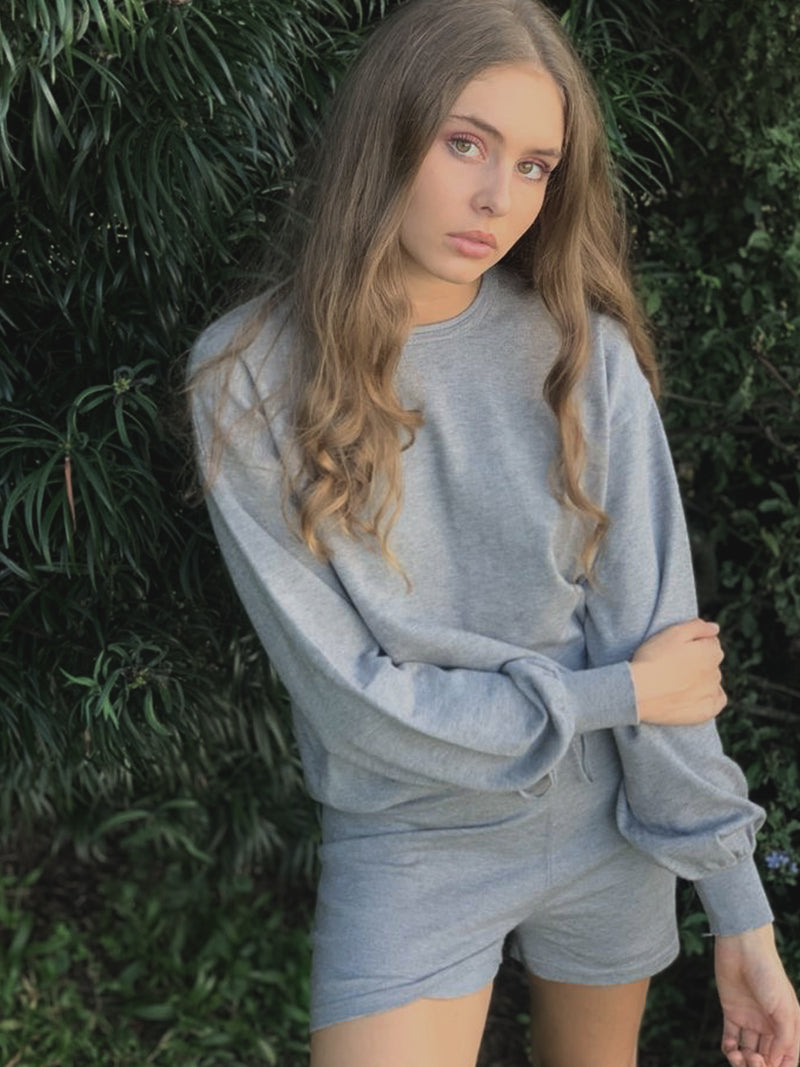 Crew Neck And Short Loungewear Set - Grey Melange