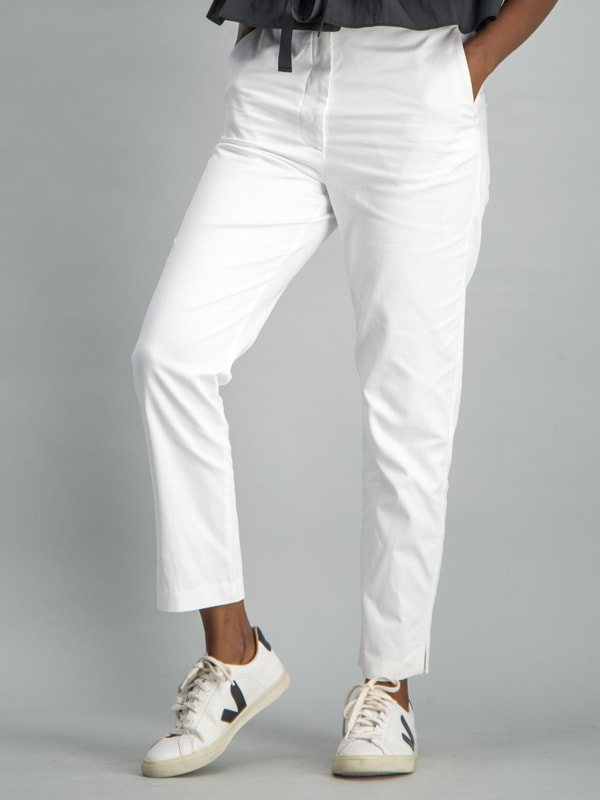 High waisted straight leg trouser - White