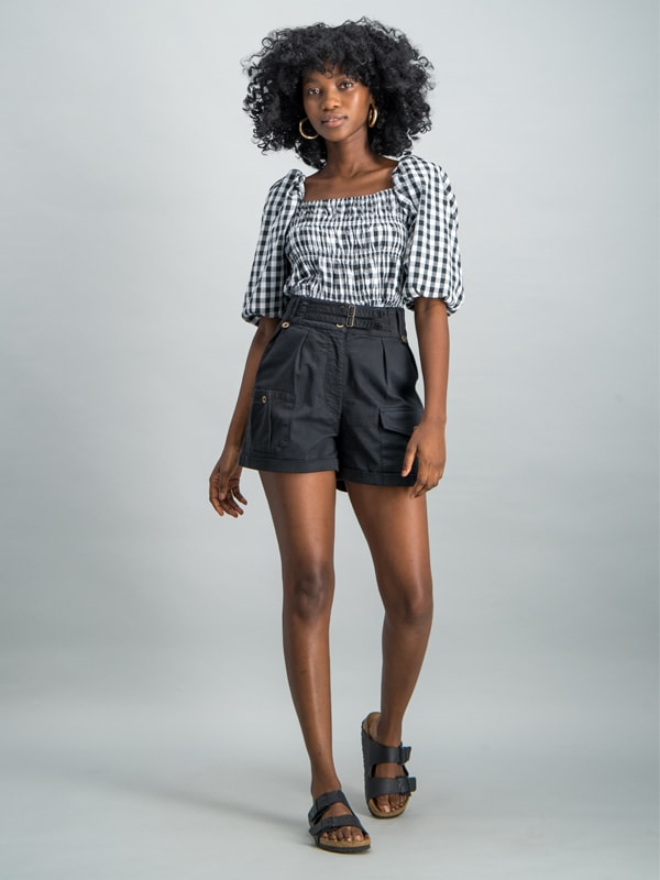 High waisted cargo short - Black
