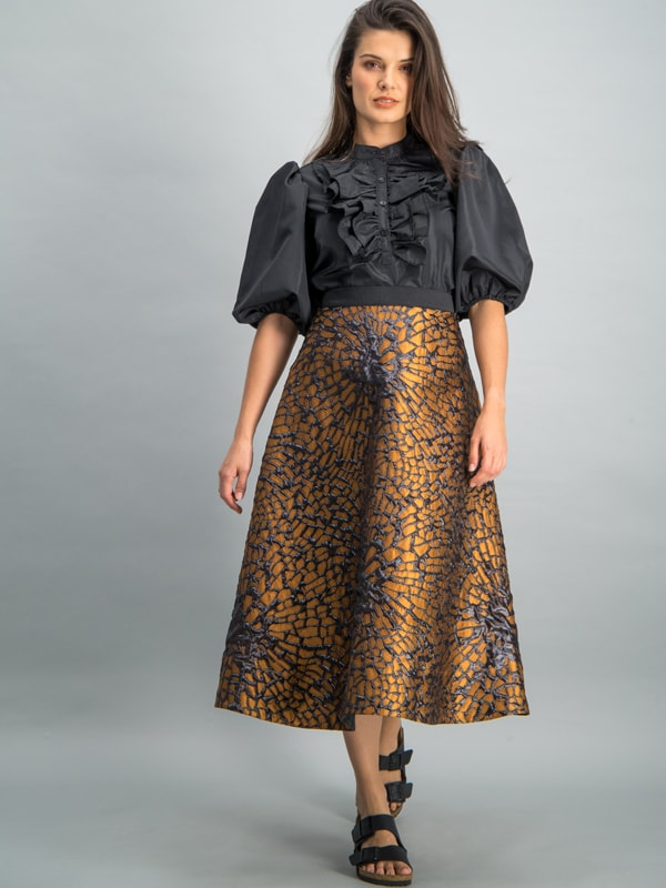 A-line knee length skirt - Copper