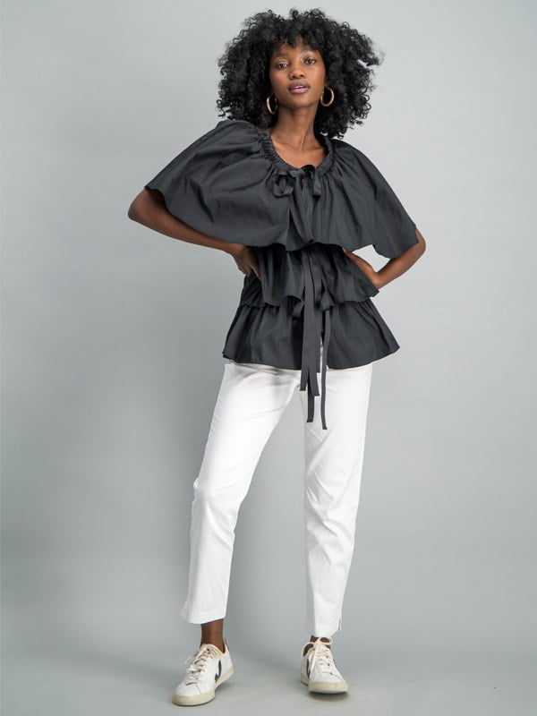 Ruffle taffeta tie detail top - Black