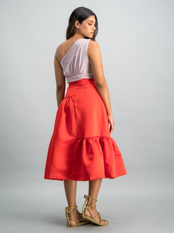 Midi length gaged detail skirt - Red