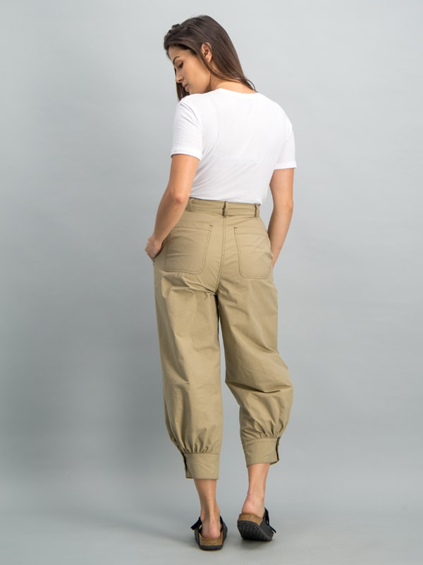 Mid rise belted tapered cropped trouser - Stone