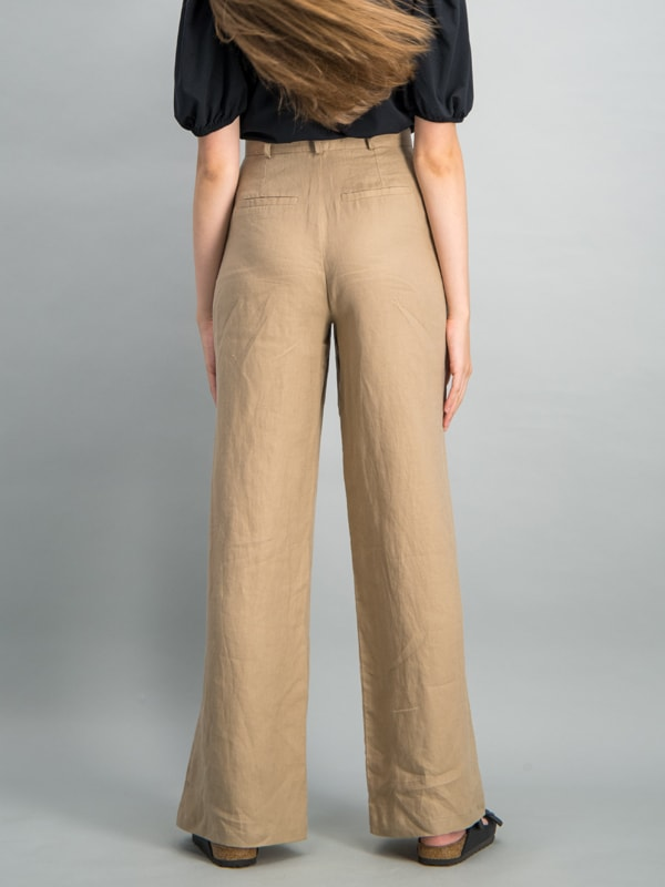 Draped linen wide leg trouser - Tan