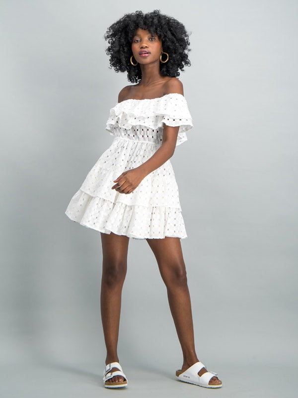 Off the shoulder tiered mini  - White
