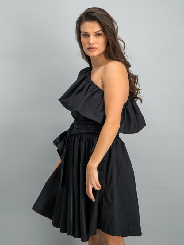 Belted one-shoulder mini dress - Black