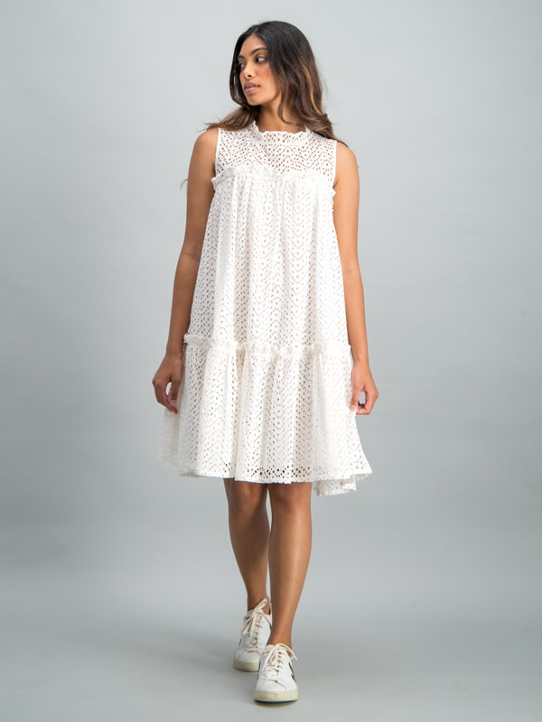 High neck tiered anglaise dress - White