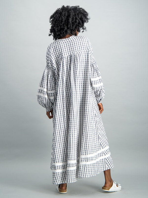Dropped puff sleeve kaftan - Grey