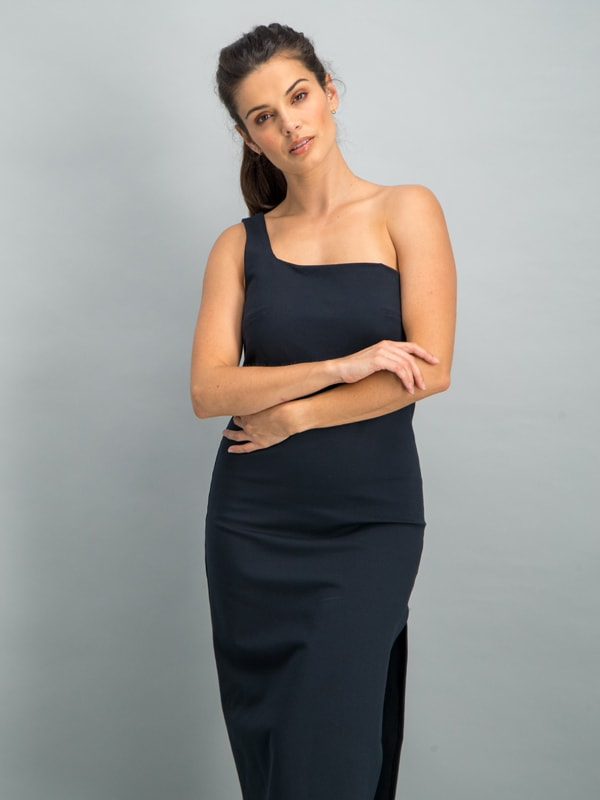 One shoulder midi body con dress - Black