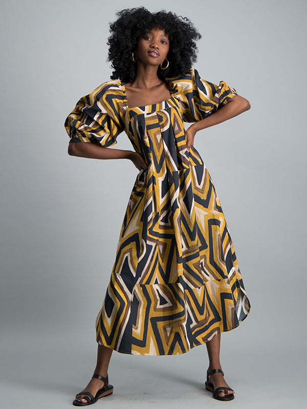 Puff sleeve square neck midi dress - Bold zig zag