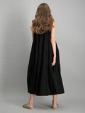 Sleeveless tiered maxi dress - Black