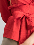 Short sleeve deep v shirt with belt - Red