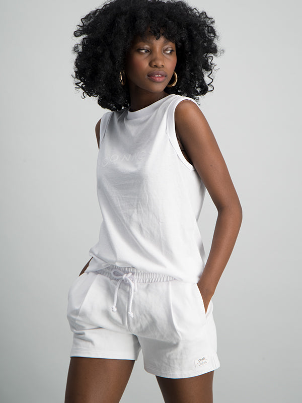 Pleated front pull on fleece short - White