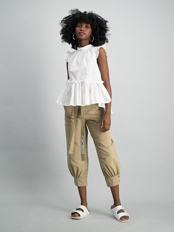 Sleeveless ruffle top - White