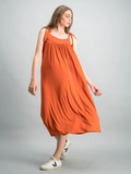 Tie-strap jersey dress - Rust