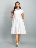Tiered cotton shirt dress - White