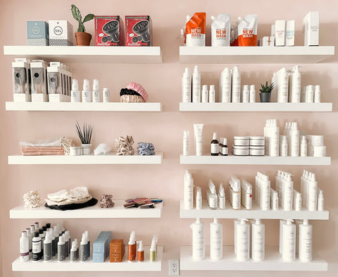 The retail shelves at Hair Holistic, a natural hair salon in Toronto.