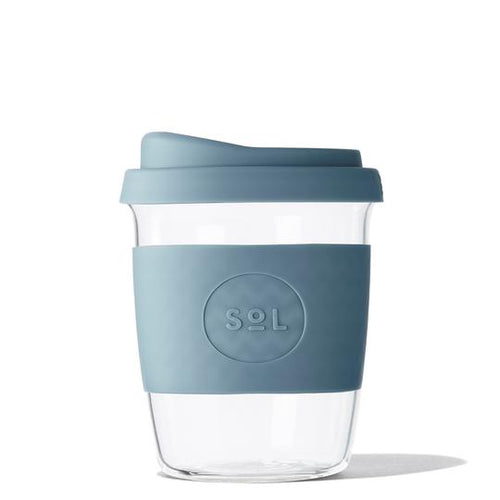 8oz SoL Cup Tumbler - glass travel mug with blue stone silicone sleeve and lid